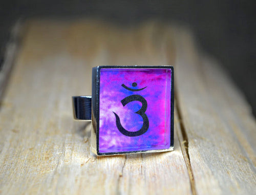 THIRD EYE CHAKRA Symbol Ring, adjustable, Yoga Jewelry, purple