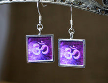 OM Symbol Earrings - Crown Chakra, Purple Yoga Gifts, Namaste, unique