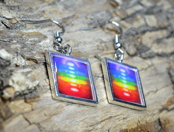 CHAKRA COLORS Rainbow Dangle Earrings - Yoga Jewelry Multi-colored