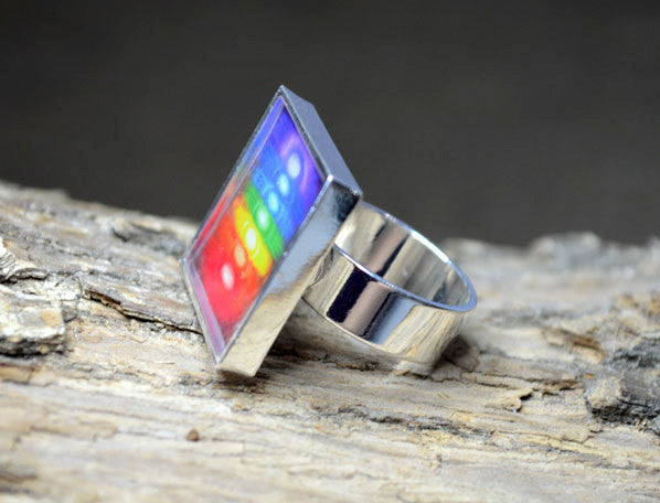 CHAKRA COLORS - Multi-Colored, handmade Art Ring, Yoga Gifts