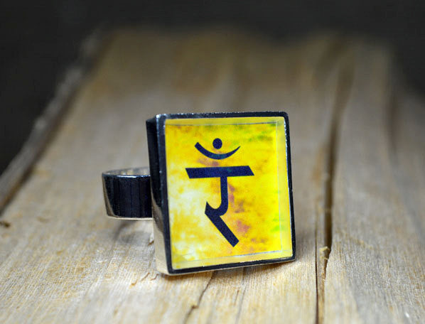 Solar Plexus CHAKRA Ring - Handmade, Adjustable Size, Silver-Plated, Square, Yellow
