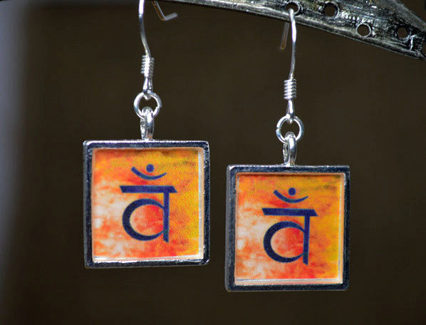 SACRAL CHAKRA Jewelry, Orange Dangle Earrings, handmade - Yoga Gifts