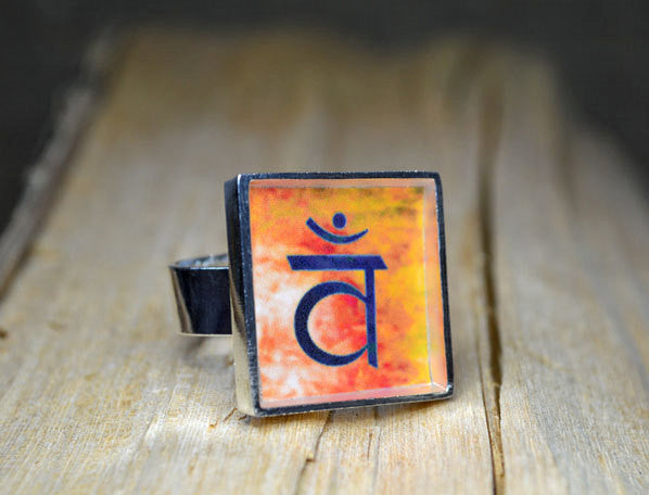 SACRAL CHAKRA Symbol - Handmade Adjustable Unique Ring, Yoga Jewelry