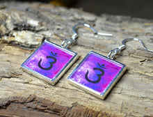 THIRD EYE CHAKRA Symbol Earrings, Yoga Jewelry handmade purple