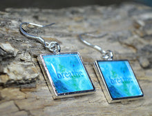 BREATHE - handmade Turquoise Earrings Word Art Resin Jewelry Inspirational