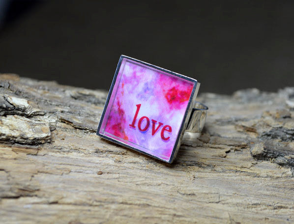 LOVE - Unique Abstract Word Art Ring, adjustable size, silver-plated, pink