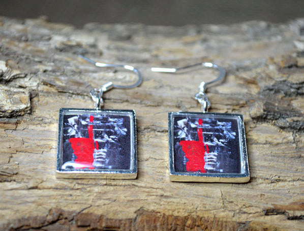 ONE - Red Black and White Dangle Earrings, Abstract Modern Art Gifts