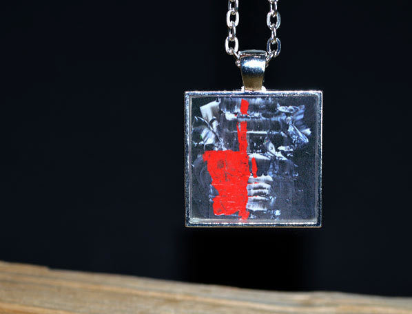 Red Black White Pendant handmade Abstract Modern Art Necklace