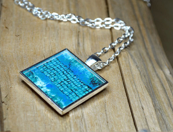 TURQUOISE Resin Jewelry Aqua Pendant, Wearable Art, Resin Statement Necklace