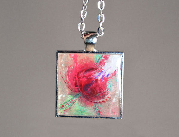 PASSIONATE KISS - Abstract Red Rose Pendant, handmade, silver-plated, unique