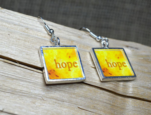 HOPE - Inspirational Yellow Dangle Earrings, handmade #6006