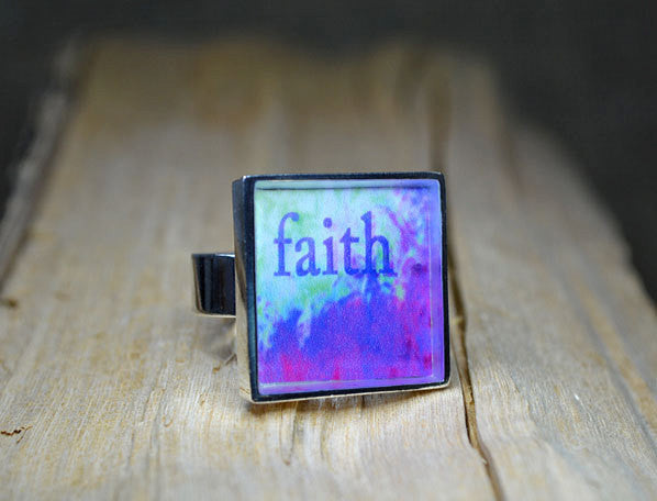FAITH - Handmade Word Art Ring, adjustable size, unique gift