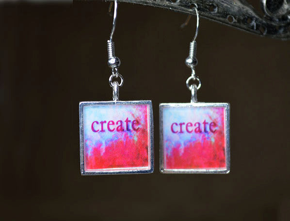 CREATE - Dangle Earrings, handmade resin