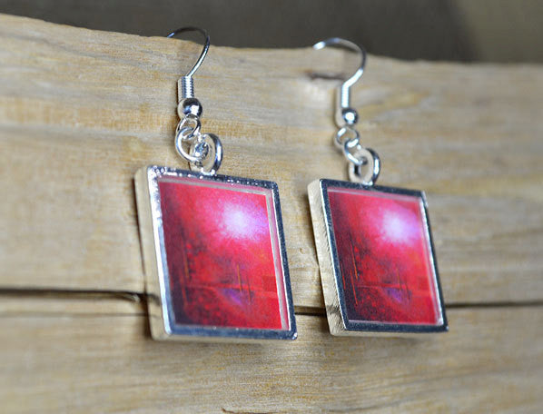 IN TOUCH - Red Abstract Wearable Art, Dangle Earrings, handmade