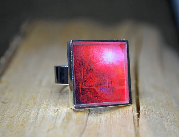 IN TOUCH - Red Modern Abstract Art Ring, handmade gift