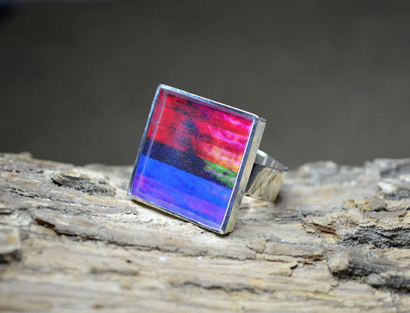 MULTI-COLOR Abstract Art Ring, unique colorful jewelry, handmade