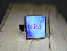BELIEVE - Word Art Resin Ring handmade, adjustable