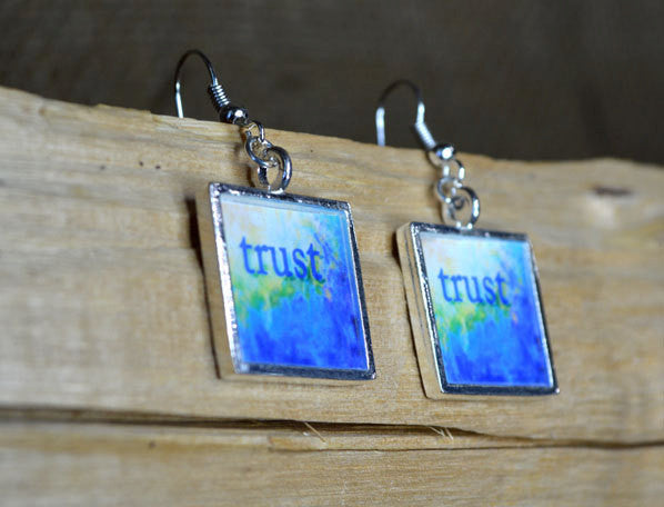 TRUST Earrings - Inspirational Word Art Jewelry, Blue Unique Art Gifts