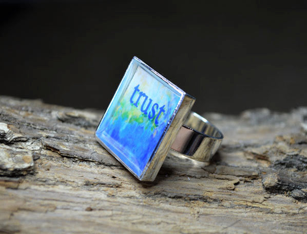 TRUST - adjustable, handmade Inspirational Ring, Blue Word Art Gifts