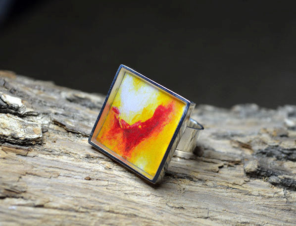 YELLOW-RED Abstract Art Ring, handmade Unique Gifts square Rings, Resin Jewelry, Wearable Art