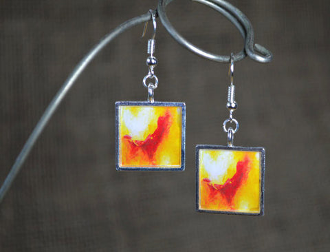 YELLOW RED Dangle Earrings - Resin Jewelry handmade Abstract Art Earrings, bold