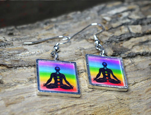 YOGA Earrings, Chakra Jewelry Colorful Rainbow Colors, 7 Chakras