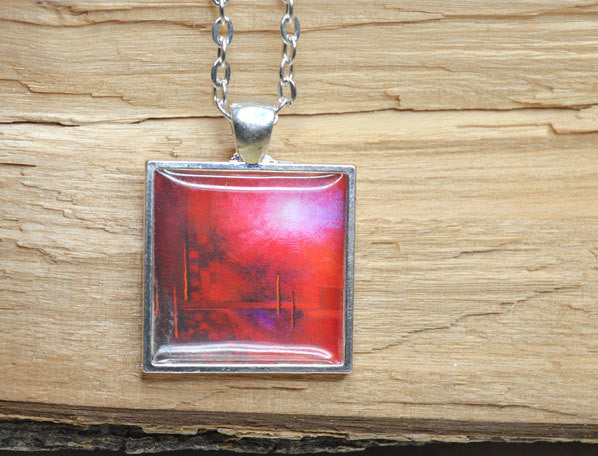 IN TOUCH - Red Modern Art Pendant, handmade - Abstract Resin Jewelry