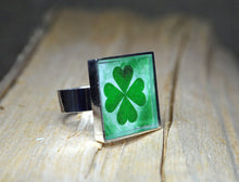 Four Leaf CLOVER Ring - adjustable Good Luck, handmade, resin