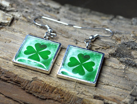 Four Leaf CLOVER Earrings -  Handmade Green Dangle Earrings Good Luck
