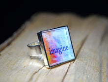 IMAGINE - Inspirational Word Art Ring, handmade #6006