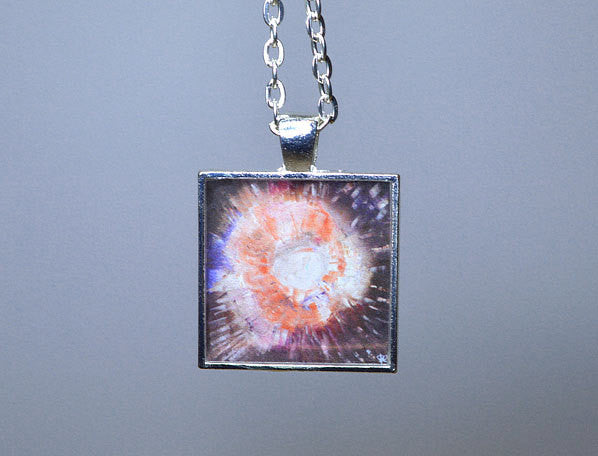 BROWN ORANGE Jewelry, Abstract Art Pendant, Unique handmade gifts, Cosmic