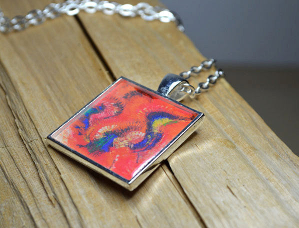 BIRD OF PARADISE - Handmade Abstract Art Pendant #1025