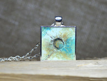 Original Wearable Art - Turquoise Tan White Pendant, Abstract Art MIRACLE PLANET