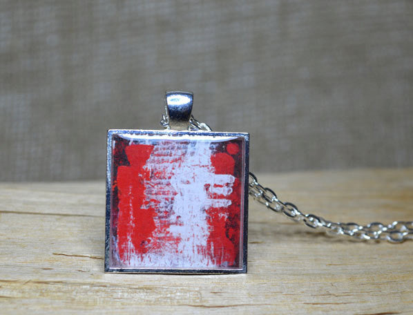 RED WHITE Abstract Wearable Art Pendant Necklace, handmade
