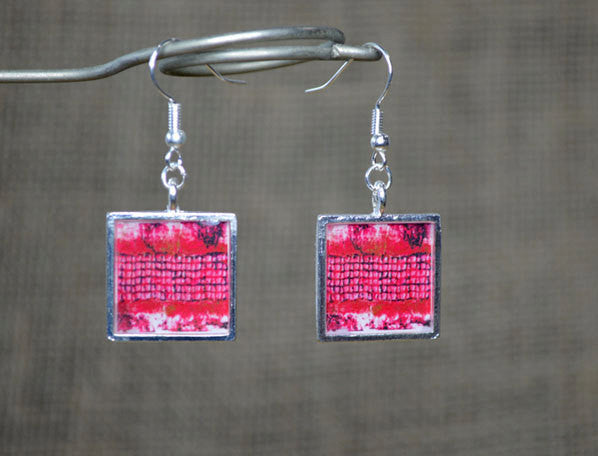 RASBERRY RED Earrings Square Dangle Earrings - handmade