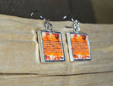 ORANGE Dangle Earrings, handmade Resin Art Jewelry, square