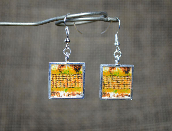 MUSTARD YELLOW / Ochre handmade Dangle Earrings, square, modern art