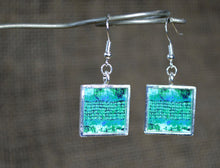 Handmade TURQUOISE Earrings, square Unique Art Gifts for her