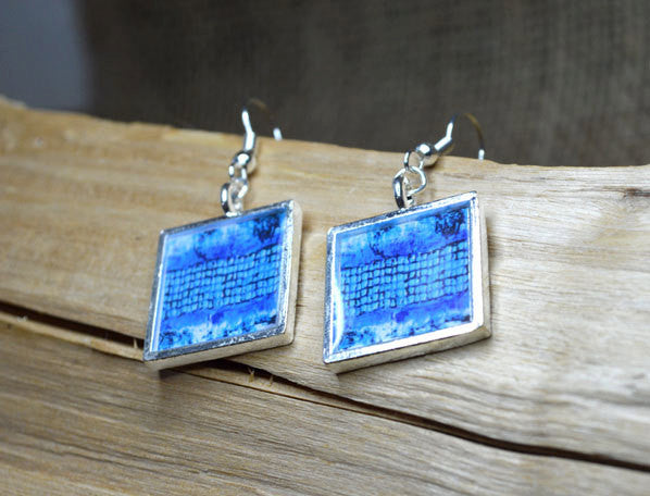 BLUE Modern Art Dangle Earrings square, handmade