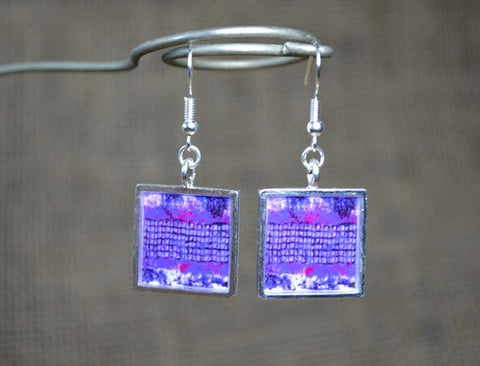 PURPLE Dangle Earrings, Modern Abstract Art Jewelry, handmade