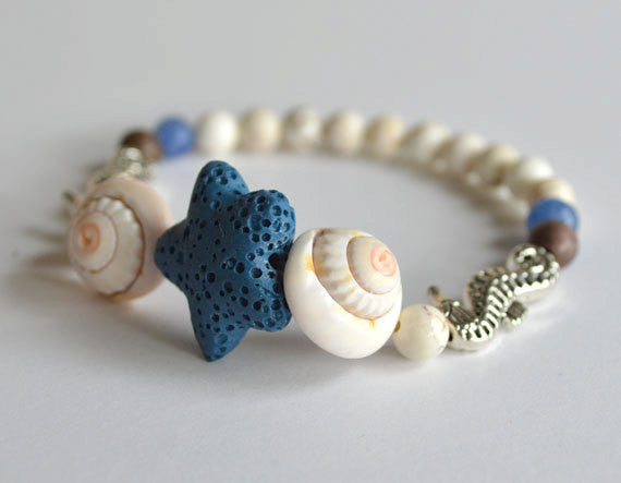 STAR FISH & SEA HORSE Beads Bracelet - White Shells, beach theme, summer gift