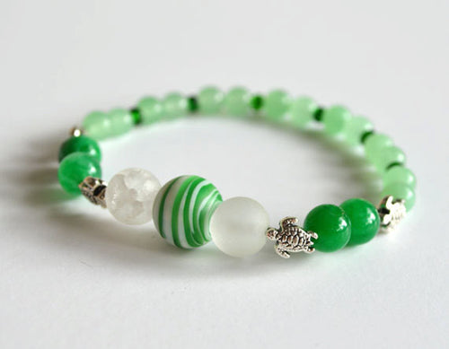 Green SEA TURTLE Beads Bracelet - Aventurine, beaded, stretchy