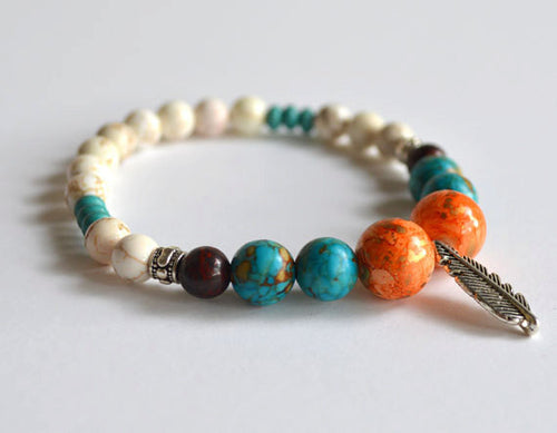 FEATHER Charm Beads Bracelet - Orange Turquoise White, handmade gifts