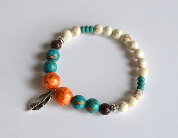 INDIAN FEATHER Charm Beads Bracelet - Orange Turquoise White, handmade gifts