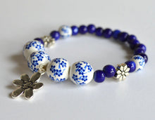 BLUE FLOWERS - Handmade Bracelet, Blue & White Beads
