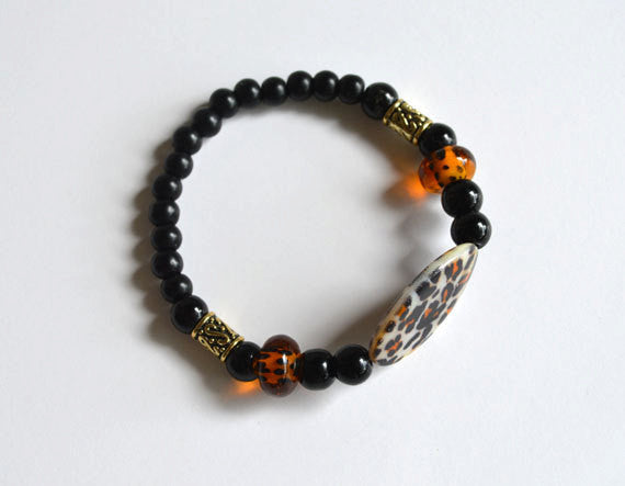 LEOPARD CHEETAH Black Bracelet Beads - Animal Print, Handmade Gift