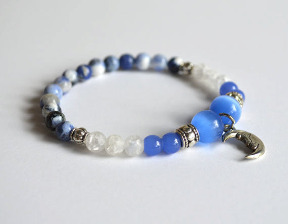 MOON GODDESS Bracelet - Blue & White Beads - Gifts for her, Moon Jewelry