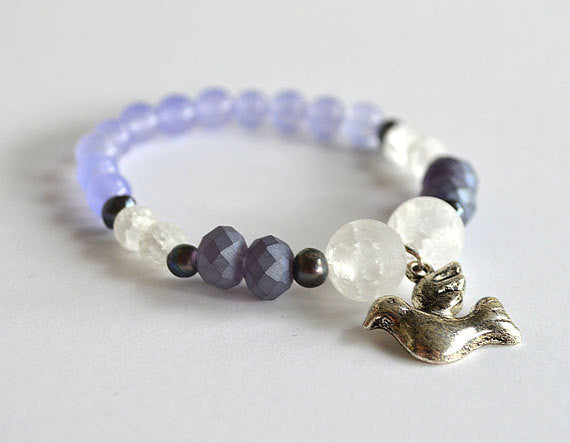 DOVE PEACE Beads Bracelet, Inspirational Jewelry, handmade