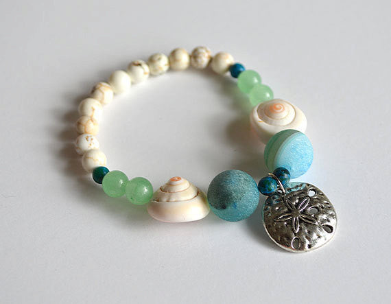 SAND DOLLAR Charm Beads Bracelet - Beach Theme, Ocean Jewelry beaded