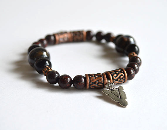SPEAR HEAD Charm TRIBAL Arrow - Handmade Beads Bracelet, Jungle Tribe Theme
